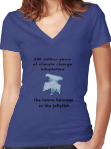 Climate Change Adaptation Jellyfish Women's Fitted V-Neck T-Shirt