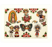 Mexican Dolls Flash Prints Art Print