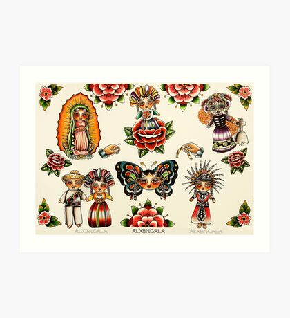 Mexican Dolls Flash Prints Art Print