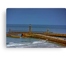 Whitby Harbour Lights Canvas Print