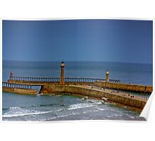 Whitby Harbour Lights Poster