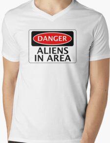 DANGER ALIENS IN AREA FAKE FUNNY SAFETY SIGN SIGNAGE Mens V-Neck T-Shirt