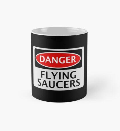 DANGER FLYING SAUCERS, FUNNY FAKE SAFETY SIGN Mug