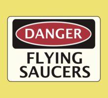 DANGER FLYING SAUCERS, FUNNY FAKE SAFETY SIGN Kids Tee
