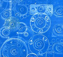Techno 5 Monotype Print in Blue by Heatherian