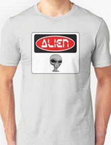 ALIEN, FUNNY DANGER STYLE FAKE SAFETY SIGN T-Shirt