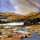 Australian Watercolor Landscape by Angela Gannicott