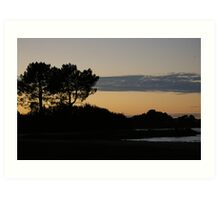 Coucher de soleil, Lac de Biscarosse Art Print