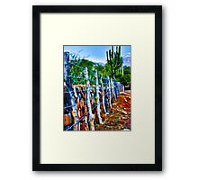 Barbed-Wire Fence Landscape Framed Print
