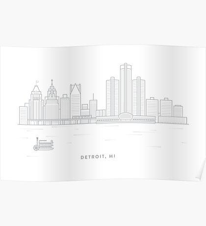 Detroit, MI Skyline Poster