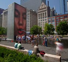 Summer fun in Crown Fountain, Chicago by Sven Brogren