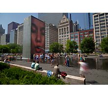 Summer fun in Crown Fountain, Chicago Photographic Print