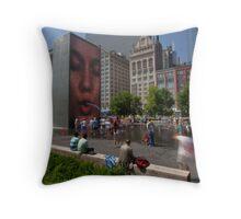 Summer fun in Crown Fountain, Chicago Throw Pillow