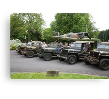 vintage army cars at St George's chapel in Biggin Hill Kent Canvas Print