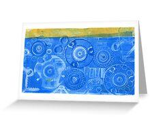 Techno 6 - Techno Landscape - Monotype Print in Blue Greeting Card