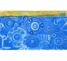 Techno 6 - Techno Landscape - Monotype Print in Blue Photographic Print