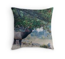 Bugling On A Cold Morning Throw Pillow