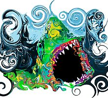 PSYCHEDELIC GREAT WHITE SHARK by sleepingmurder