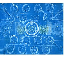 Techno 7 Monotype Print in Blue Photographic Print