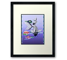 Two White Koi-Blue Lily  Framed Print