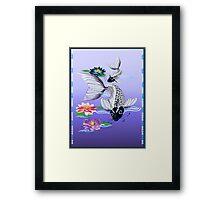 Two White Koi-Blue Lily  Framed Print