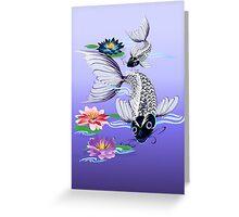 Two White Koi-Blue Lily  Greeting Card