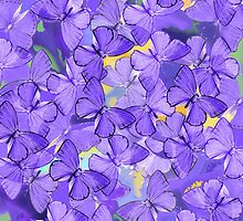 Composition With Echoed Butterflies in Lavender, Purples and Accents of Other Colors  by Ivana Redwine
