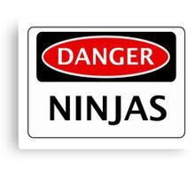 DANGER NINJAS FAKE FUNNY SAFETY SIGN SIGNAGE Canvas Print