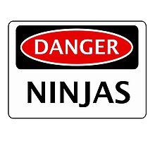 DANGER NINJAS FAKE FUNNY SAFETY SIGN SIGNAGE Photographic Print