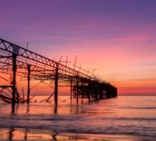 Totland Pier Caught In The Afterglow Sticker
