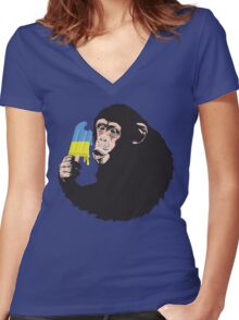 Oooooz Chimp Women's Fitted V-Neck T-Shirt