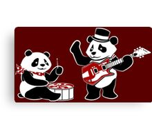 White Stripe Pandas Canvas Print
