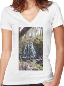 Water Fall Women's Fitted V-Neck T-Shirt