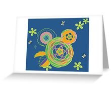 Green and orange flowers with bees Greeting Card