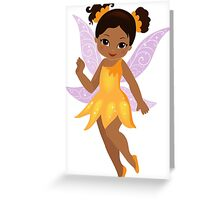 African American Beautiful  Fairy in a yellow dress Greeting Card