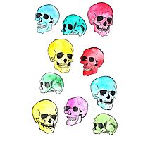 Skulls Repeat Pattern Watercolour Illustration Photographic Print