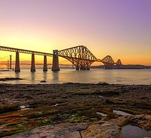 Forth Bridges at Sunset by Miles Gray