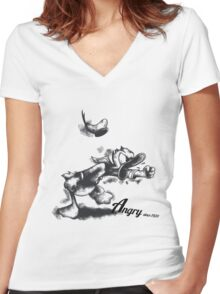 The Angry Duck Women's Fitted V-Neck T-Shirt