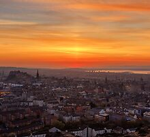 Sun Pillar over the Forth Bridges, Edinburgh Sunset by Miles Gray