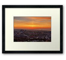 Sun Pillar over the Forth Bridges, Edinburgh Sunset Framed Print