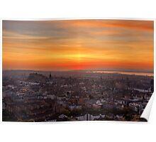 Sun Pillar over the Forth Bridges, Edinburgh Sunset Poster