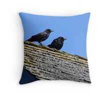 Two Crows on a Hot Lichened Roof Throw Pillow