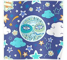 - Moon pattern (blue) - Poster