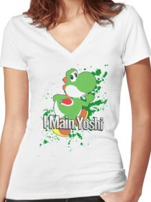 I Main Yoshi - Super Smash Bros. Women's Fitted V-Neck T-Shirt