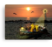 Romantic boating of two micepard in love  Canvas Print
