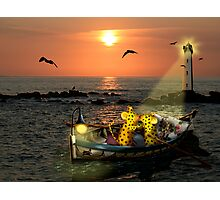 Romantic boating of two micepard in love  Photographic Print