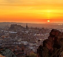 Panoramic Sunset from the Crags, Edinburgh by Miles Gray