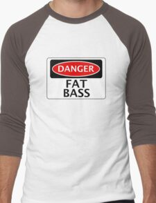 DANGER FAT BASS FAKE FUNNY SAFETY SIGN SIGNAGE Men's Baseball ¾ T-Shirt