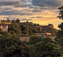 Sunset over Edinburgh Castle by Miles Gray