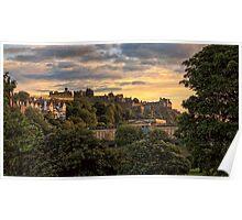 Sunset over Edinburgh Castle Poster